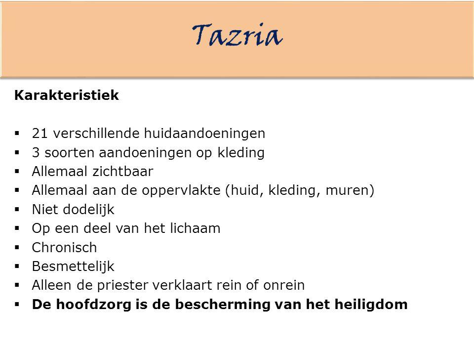 Tazria Karakteristiek 21 verschillende huidaandoeningen