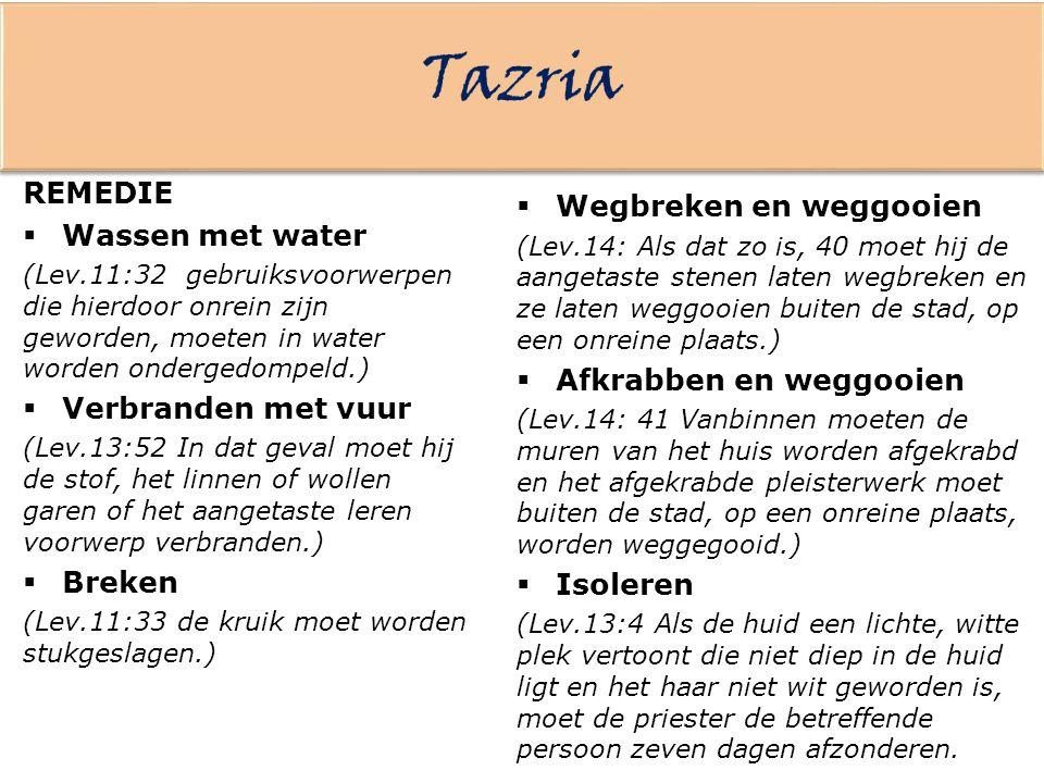 Tazria REMEDIE Wegbreken en weggooien Wassen met water