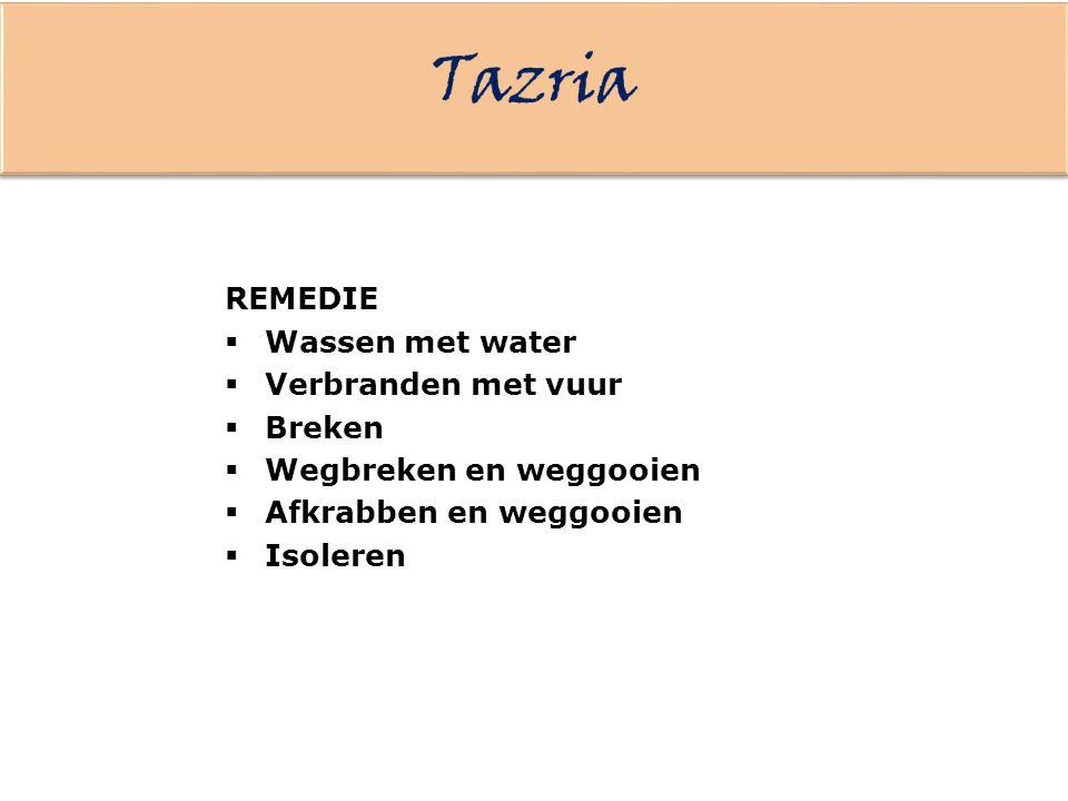 Tazria REMEDIE Wassen met water Verbranden met vuur Breken