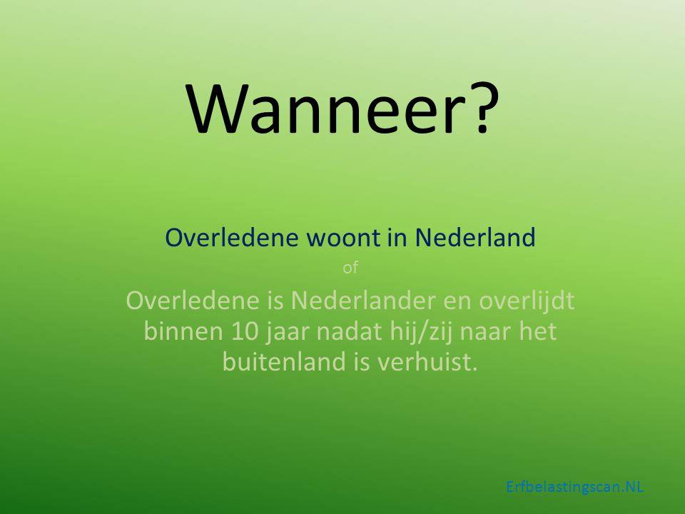 Overledene woont in Nederland