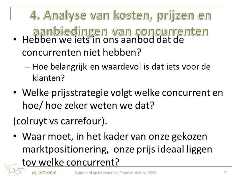 4. Analyse van kosten, prijzen en aanbiedingen van concurrenten