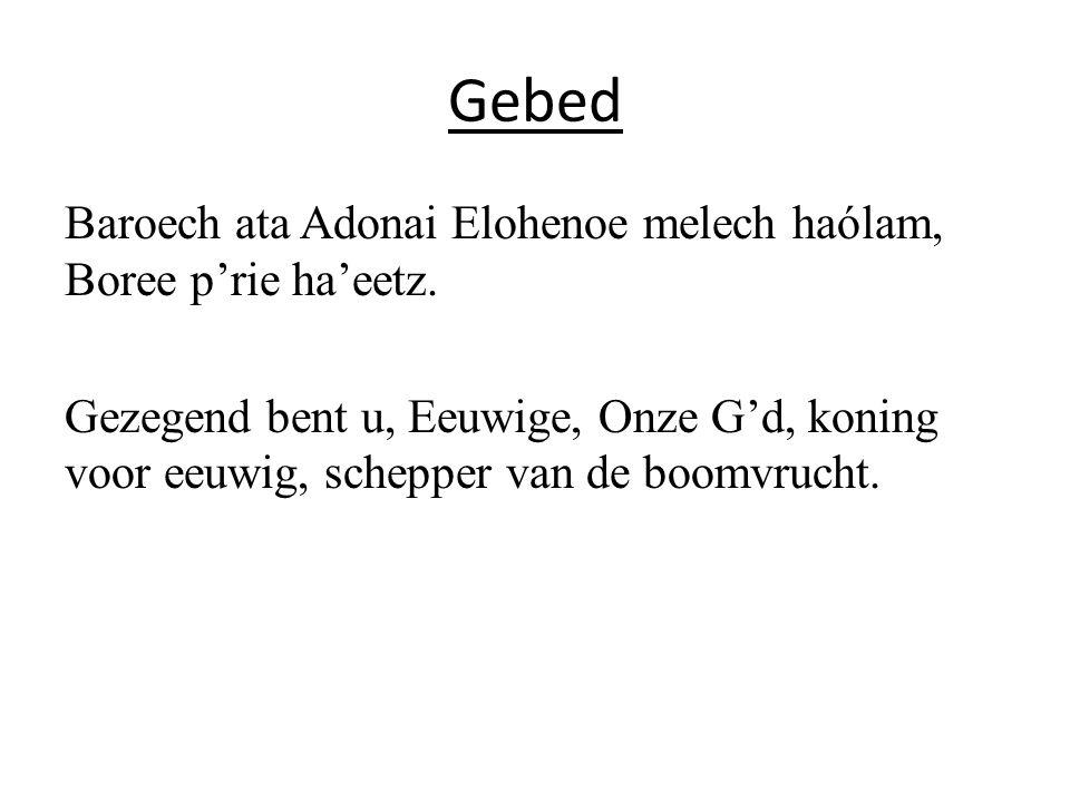 Gebed Baroech ata Adonai Elohenoe melech haólam, Boree p'rie ha'eetz.