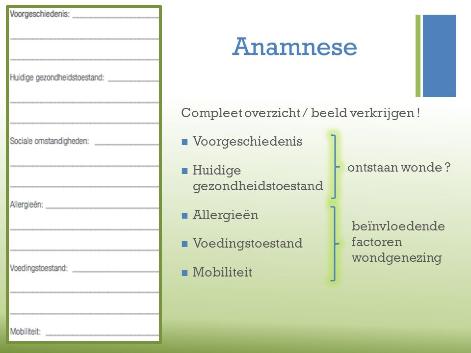 Anamnese Compleet overzicht / beeld verkrijgen ! Voorgeschiedenis