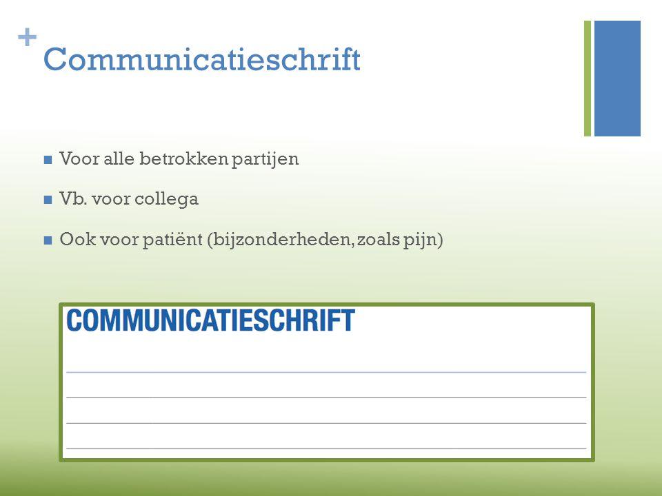 Communicatieschrift Voor alle betrokken partijen Vb. voor collega