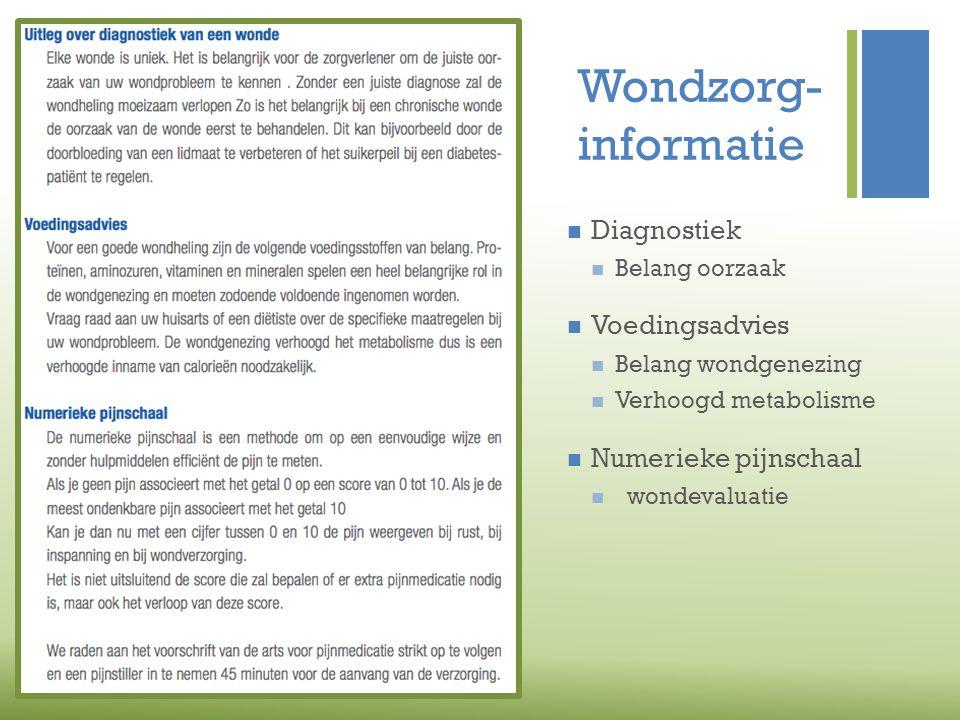 Wondzorg- informatie Diagnostiek Voedingsadvies Numerieke pijnschaal