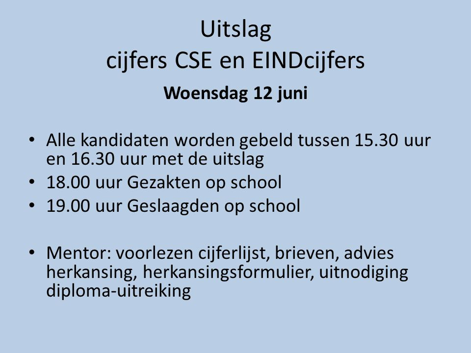 Uitslag cijfers CSE en EINDcijfers