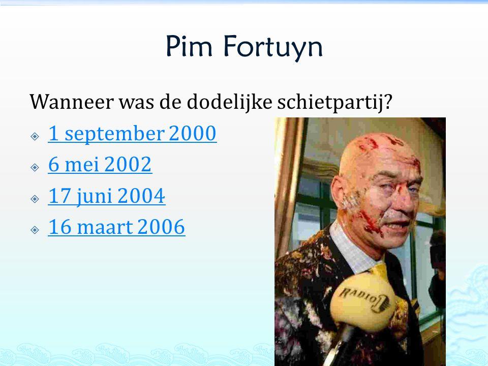 Pim Fortuyn Wanneer was de dodelijke schietpartij 1 september 2000