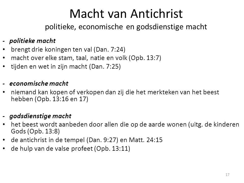 Macht van Antichrist politieke, economische en godsdienstige macht
