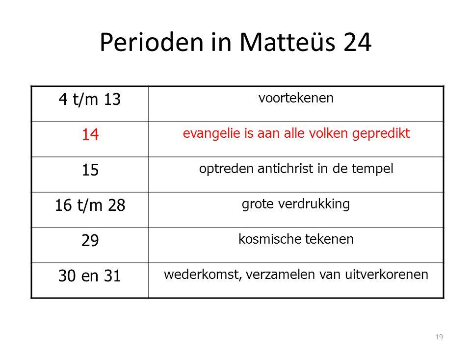 Perioden in Matteüs 24 4 t/m 13 14 15 16 t/m 28 29 30 en 31