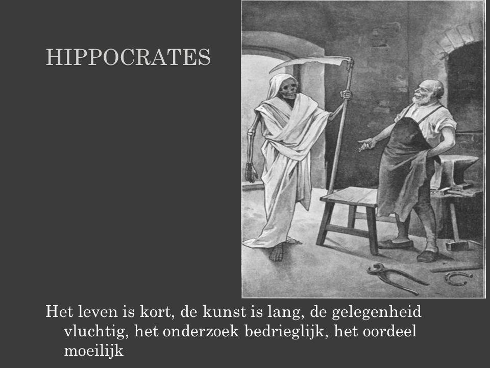hippocrates Het leven is kort, de kunst is lang, de gelegenheid vluchtig, het onderzoek bedrieglijk, het oordeel moeilijk.
