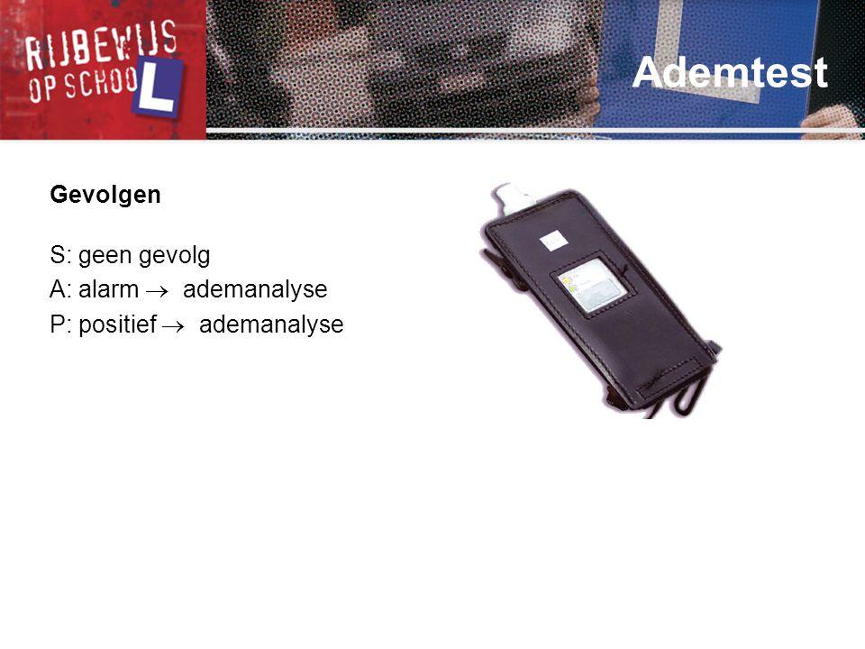 Ademtest Gevolgen S: geen gevolg A: alarm  ademanalyse