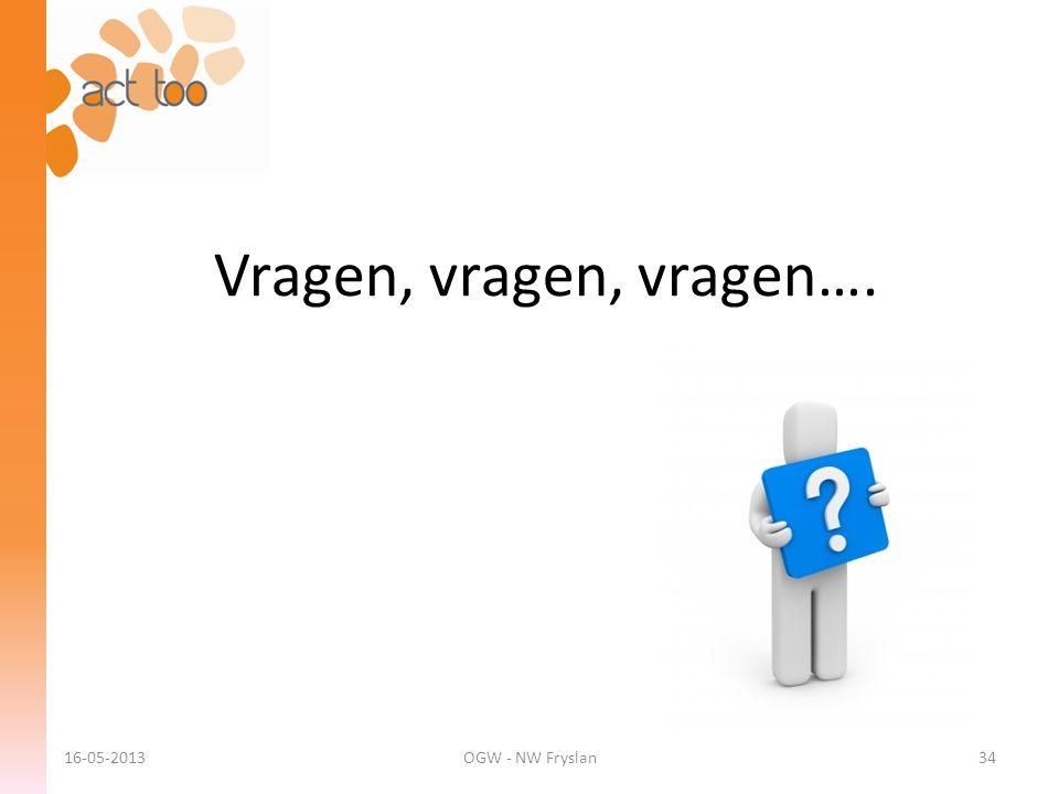 Vragen, vragen, vragen…. 16-05-2013 OGW - NW Fryslan