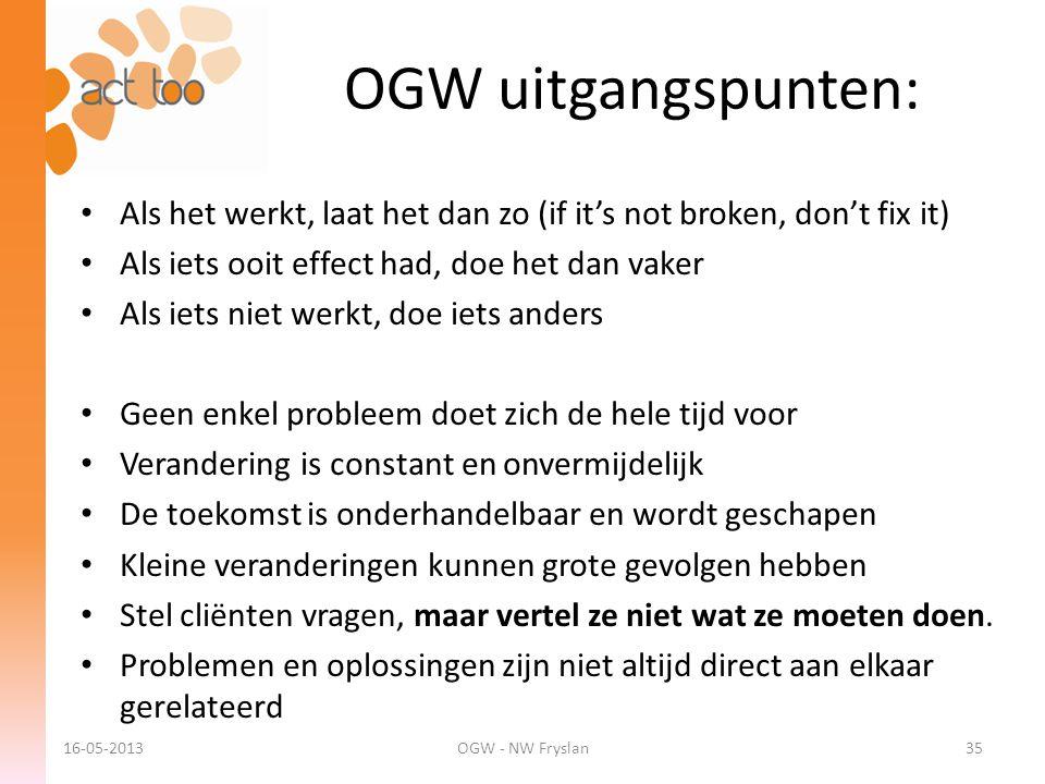ACT too 6-12-2012. OGW uitgangspunten: Als het werkt, laat het dan zo (if it's not broken, don't fix it)