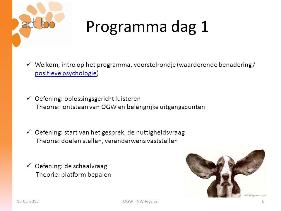 ACT too 6-12-2012. Programma dag 1. Welkom, intro op het programma, voorstelrondje (waarderende benadering / positieve psychologie)