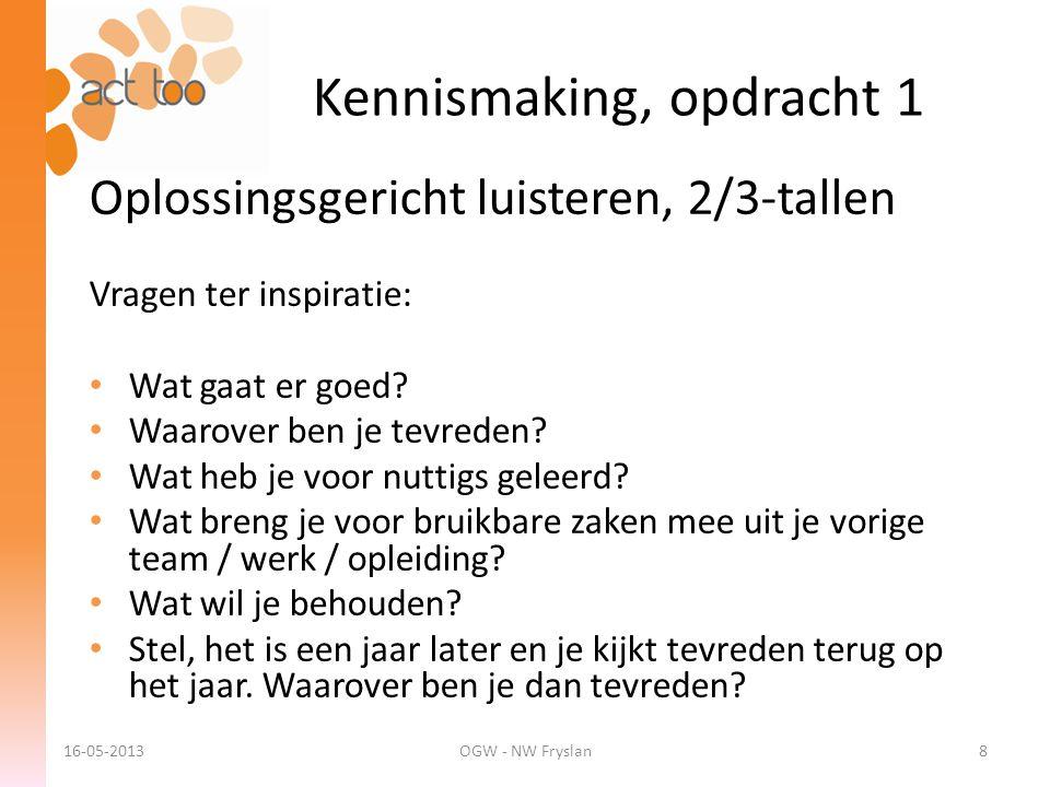 Kennismaking, opdracht 1