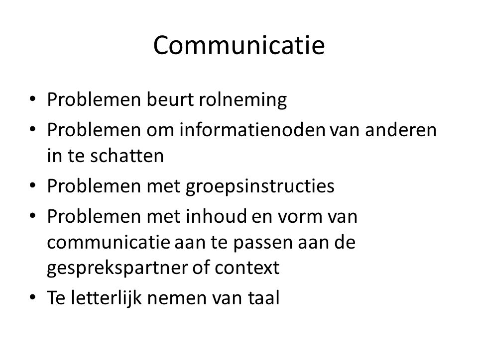 Communicatie Problemen beurt rolneming