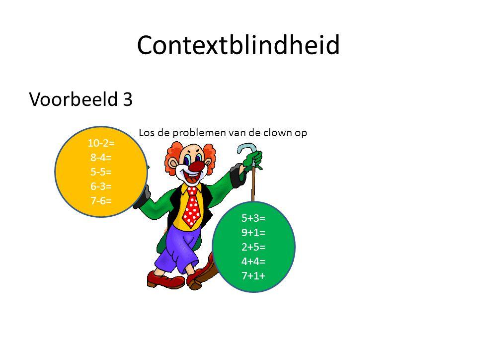 Contextblindheid Voorbeeld 3 Los de problemen van de clown op 10-2=