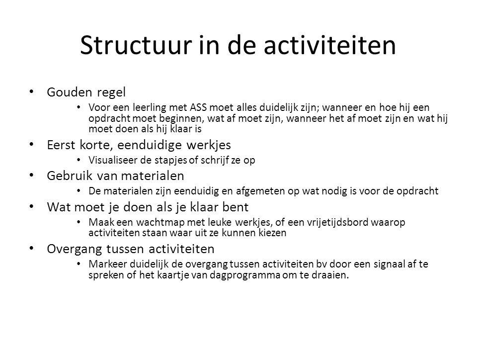 Structuur in de activiteiten