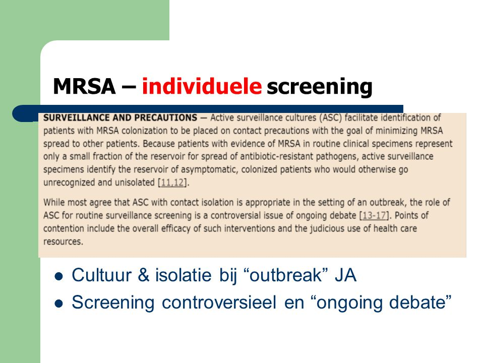MRSA – individuele screening