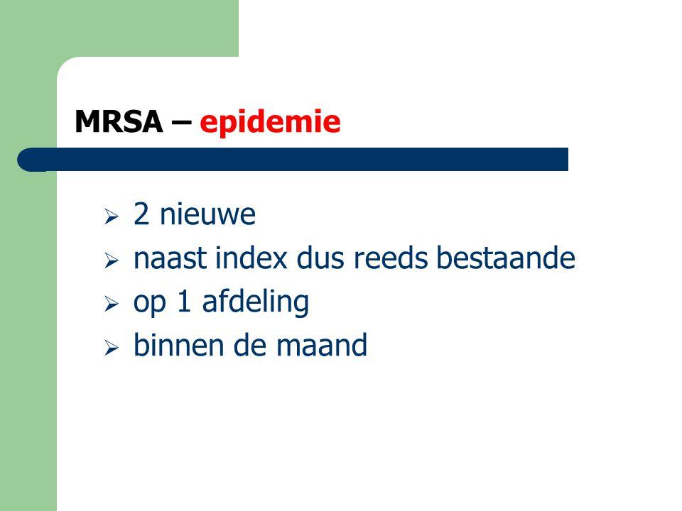 MRSA – epidemie 2 nieuwe naast index dus reeds bestaande op 1 afdeling binnen de maand