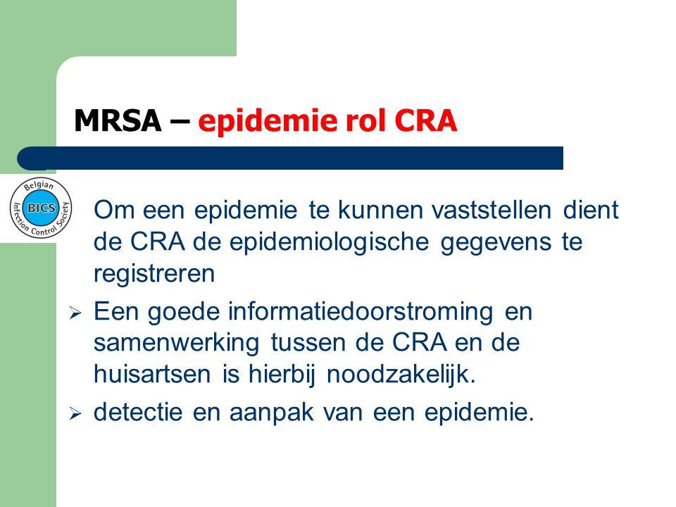 MRSA – epidemie rol CRA Om een epidemie te kunnen vaststellen dient de CRA de epidemiologische gegevens te registreren.
