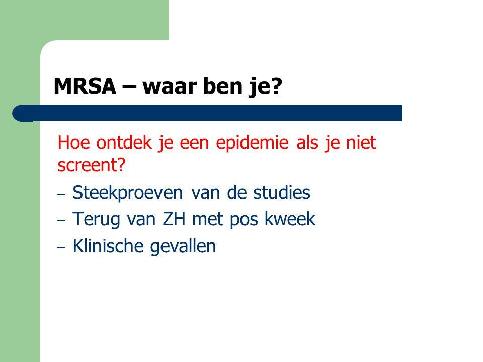 MRSA – waar ben je Hoe ontdek je een epidemie als je niet screent