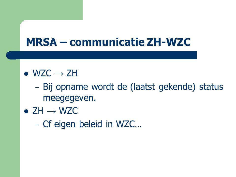 MRSA – communicatie ZH-WZC
