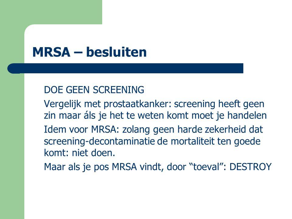 MRSA – besluiten DOE GEEN SCREENING