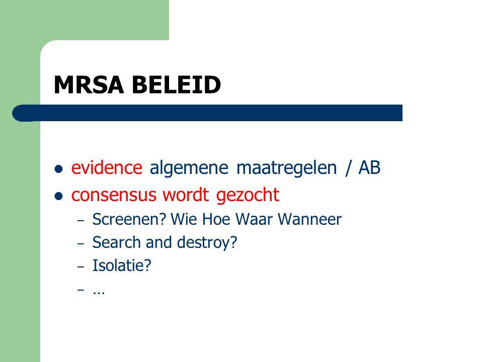 MRSA BELEID evidence algemene maatregelen / AB consensus wordt gezocht