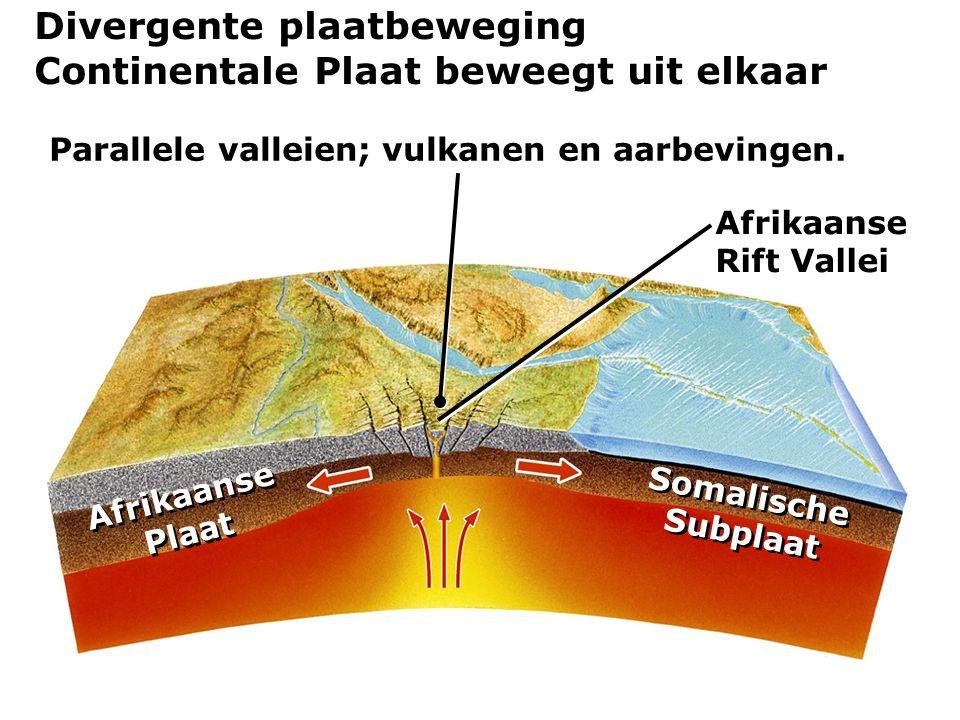 Parallele valleien; vulkanen en aarbevingen.