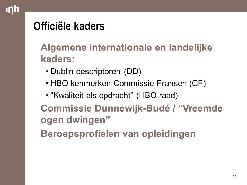 Officiële kaders Algemene internationale en landelijke kaders: