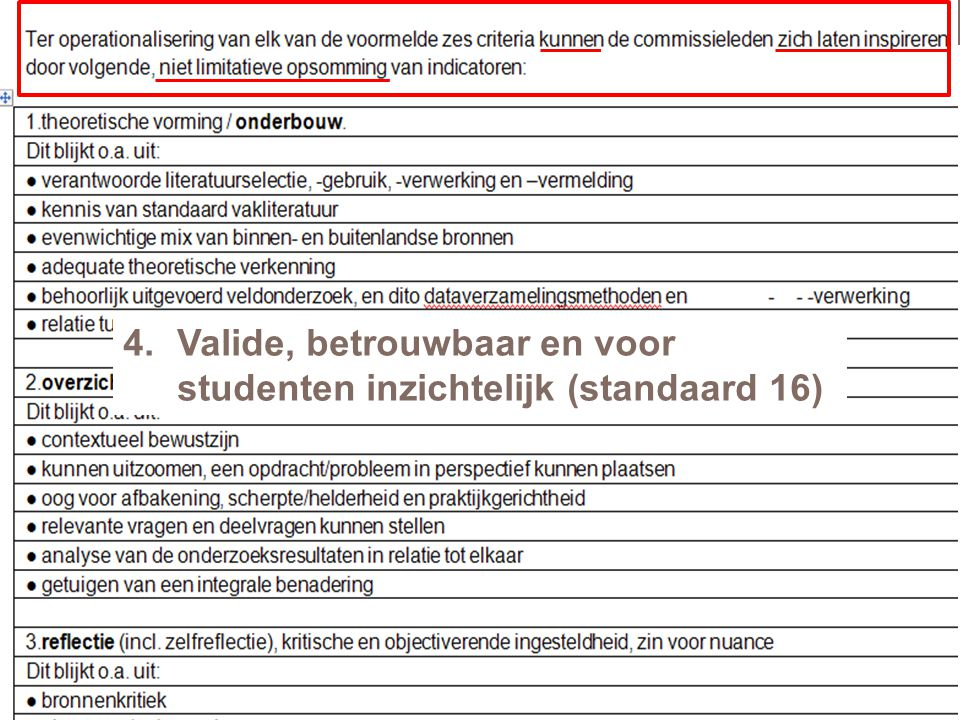 Valide, betrouwbaar en voor studenten inzichtelijk (standaard 16)
