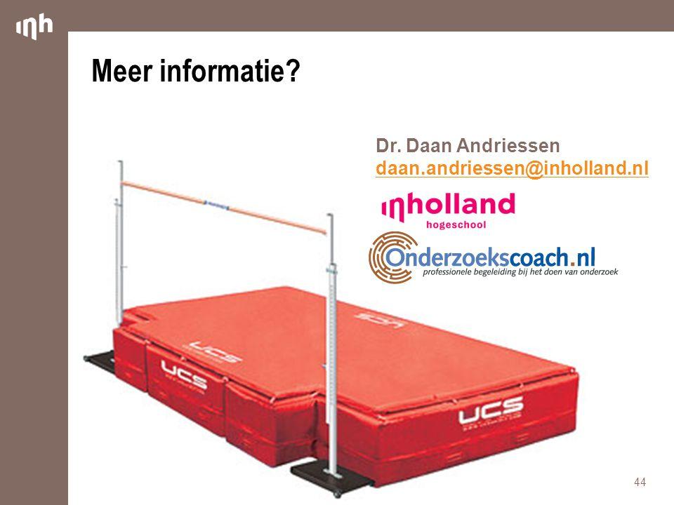 Meer informatie Dr. Daan Andriessen daan.andriessen@inholland.nl