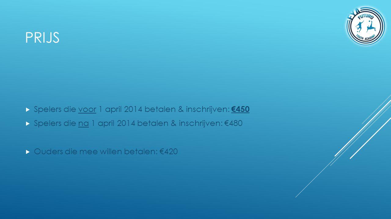 Prijs Spelers die voor 1 april 2014 betalen & inschrijven: €450