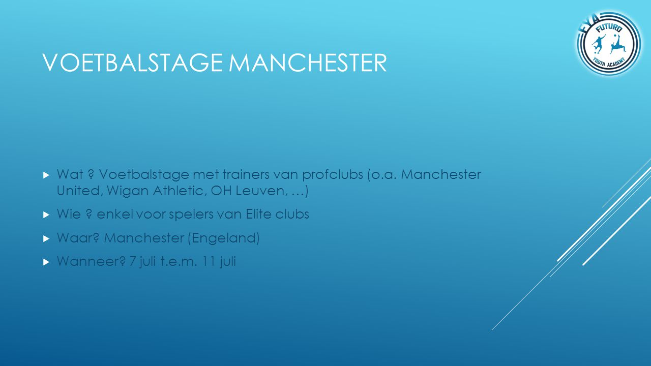 Voetbalstage Manchester