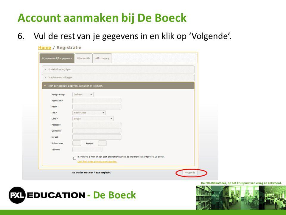 Account aanmaken bij De Boeck