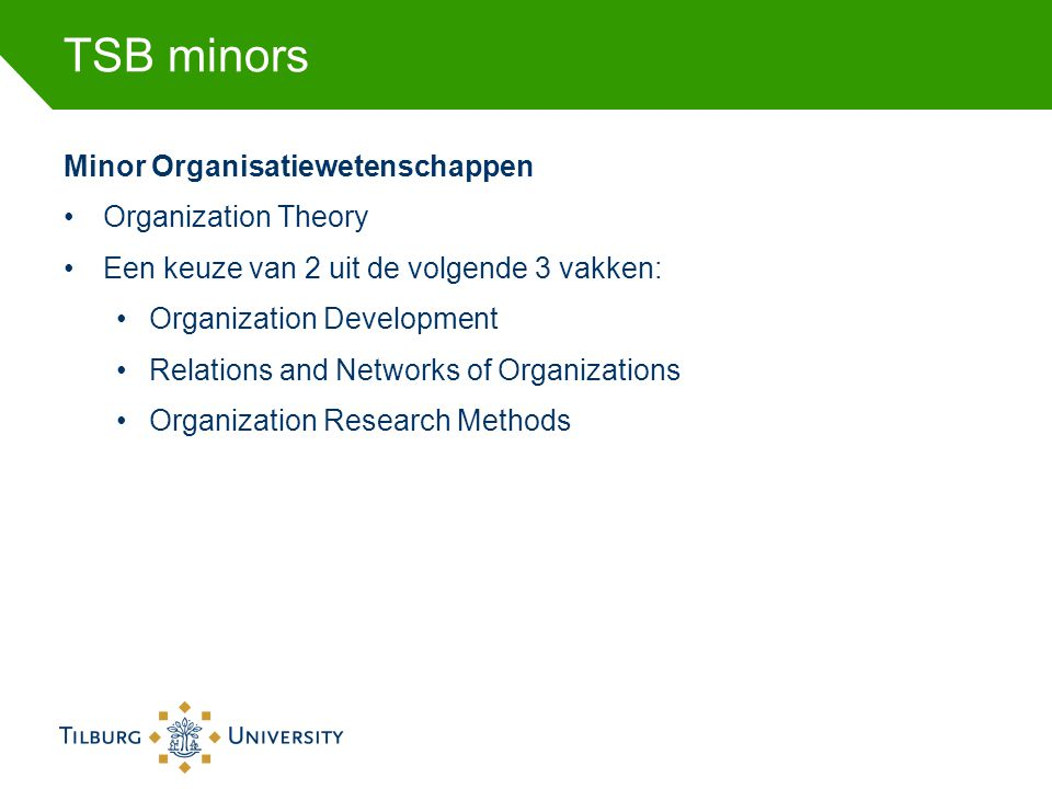 TSB minors Minor Organisatiewetenschappen Organization Theory