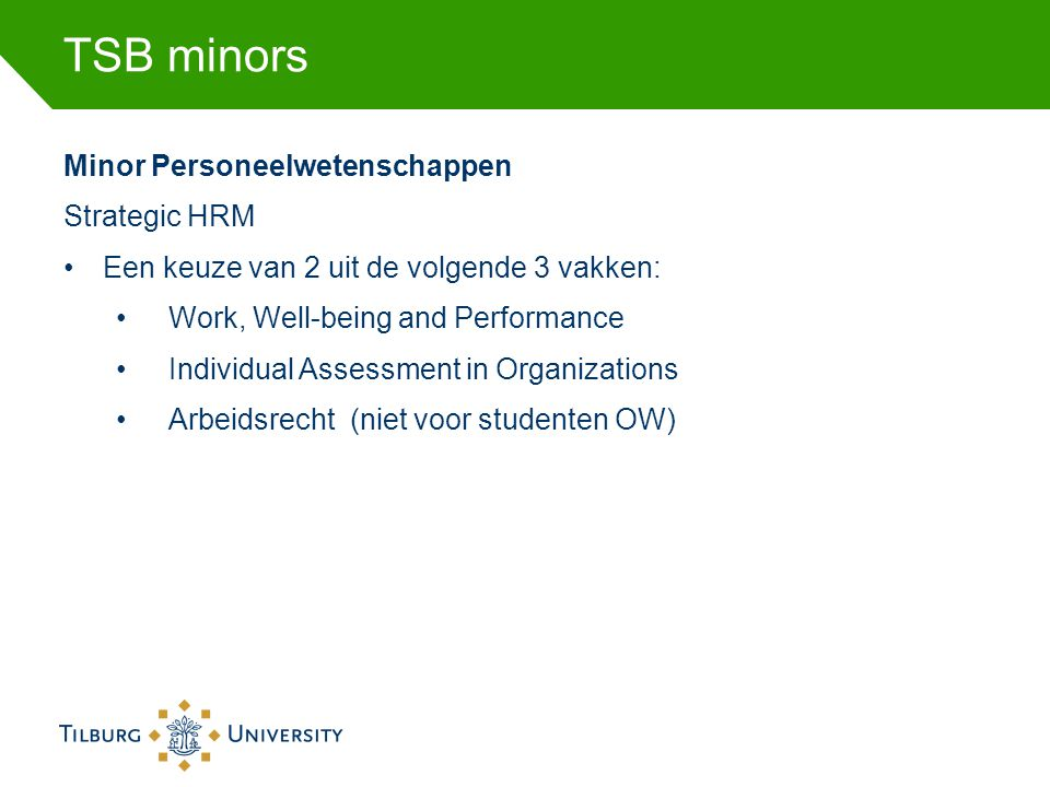 TSB minors Minor Personeelwetenschappen Strategic HRM