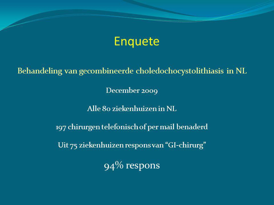 Enquete Behandeling van gecombineerde choledochocystolithiasis in NL. December 2009. Alle 80 ziekenhuizen in NL.
