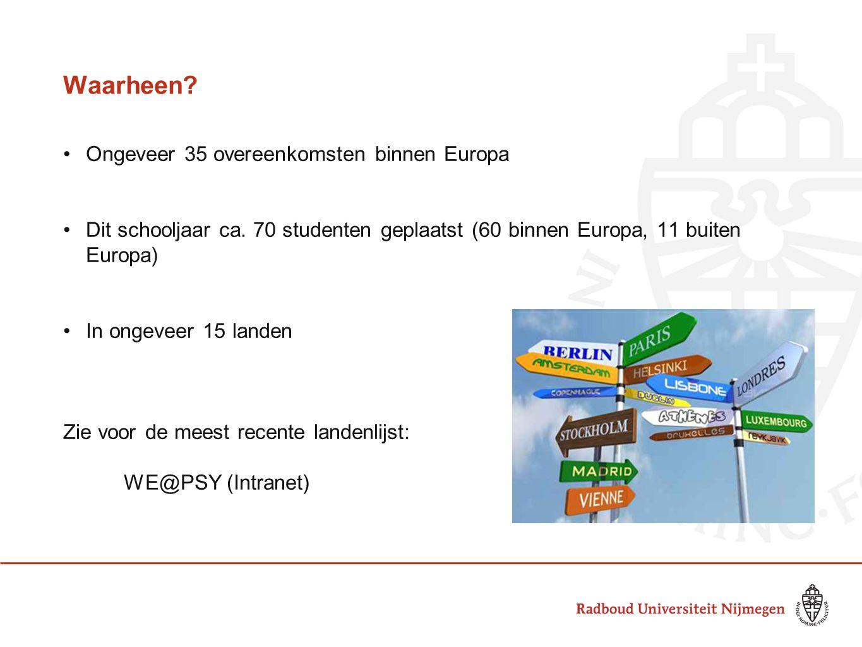 Waarheen Ongeveer 35 overeenkomsten binnen Europa