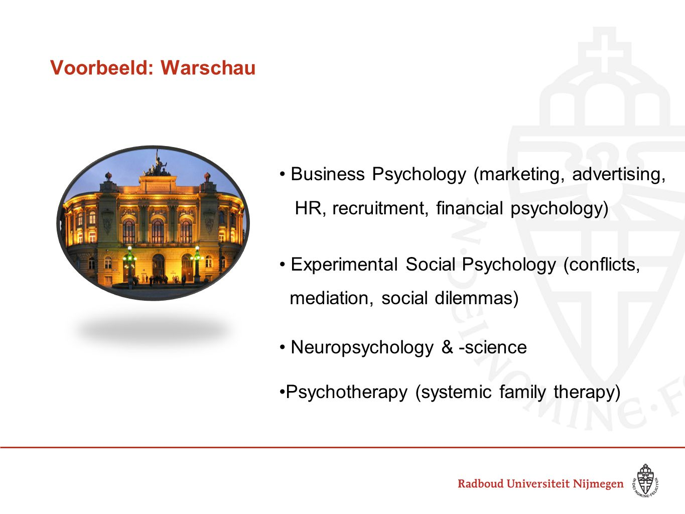 Voorbeeld: Warschau Business Psychology (marketing, advertising,