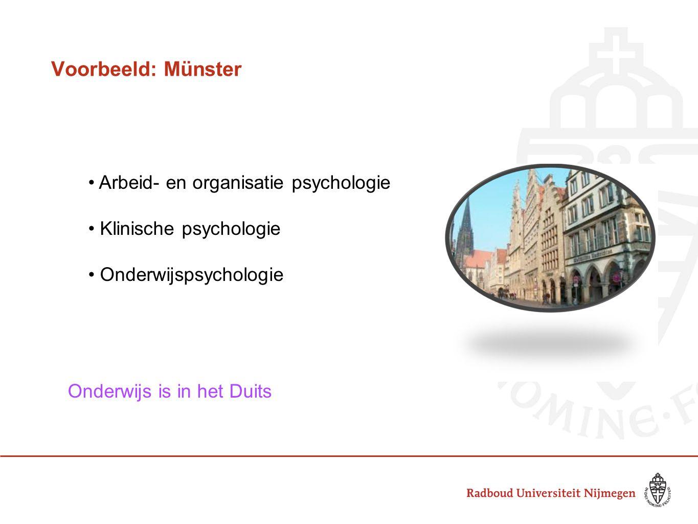 Voorbeeld: Münster Arbeid- en organisatie psychologie