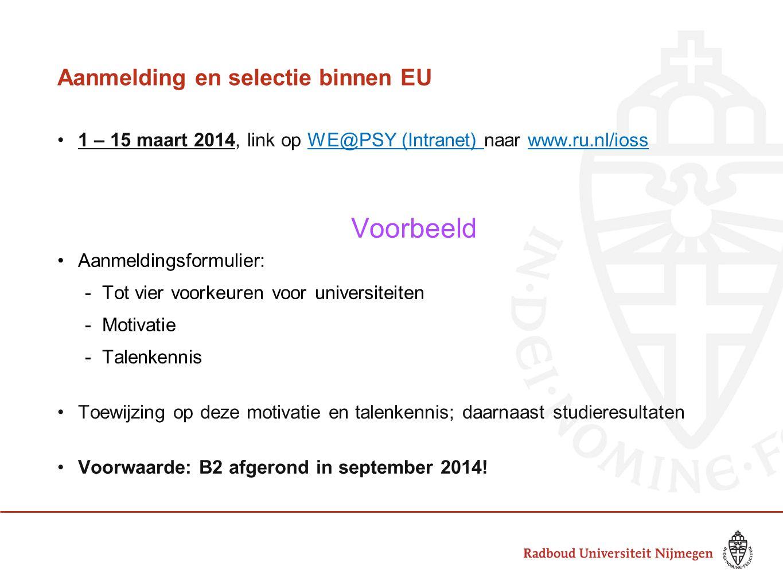 Aanmelding en selectie binnen EU