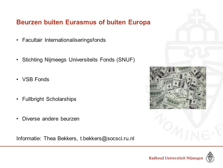 Beurzen buiten Eurasmus of buiten Europa