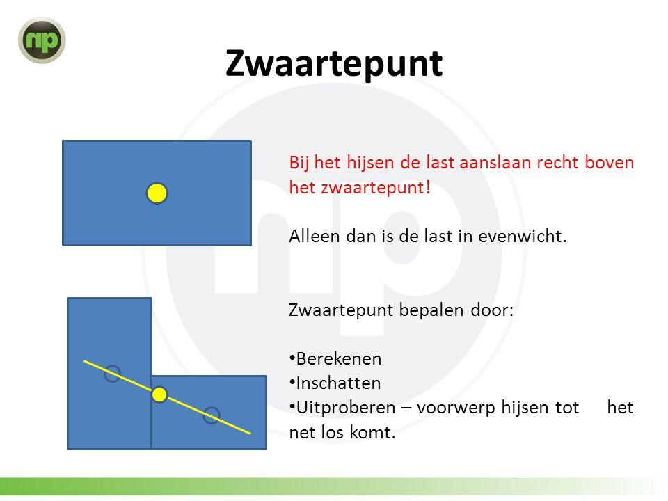 Zwaartepunt Bij het hijsen de last aanslaan recht boven het zwaartepunt! Alleen dan is de last in evenwicht.