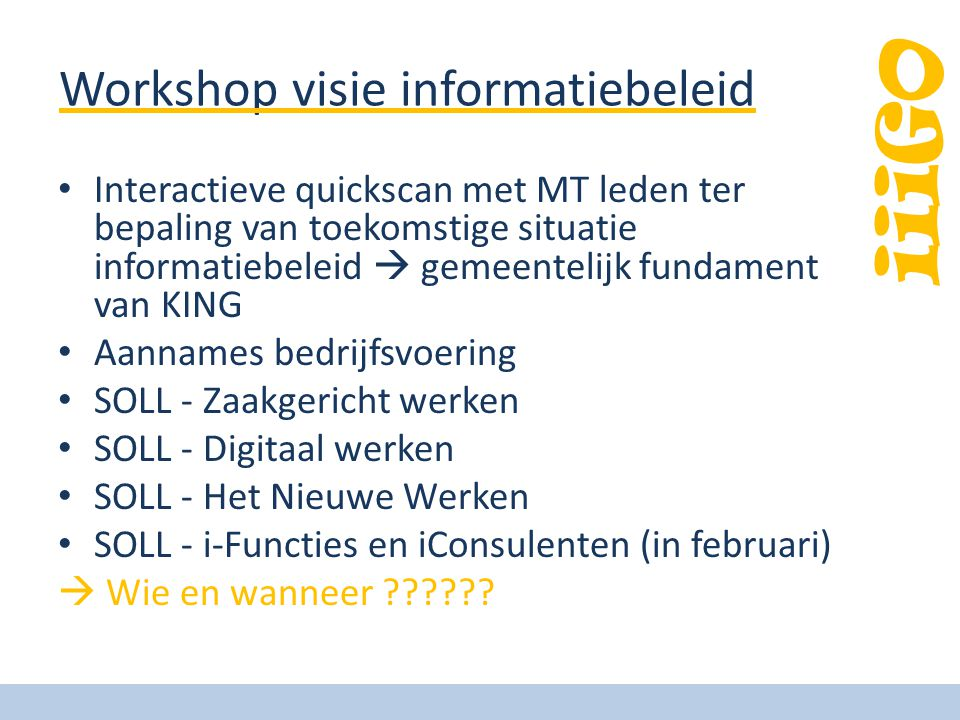 Workshop visie informatiebeleid