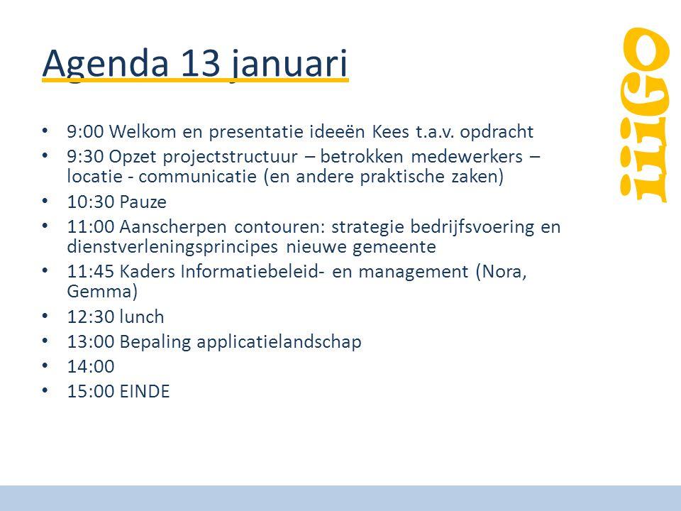 Agenda 13 januari 9:00 Welkom en presentatie ideeën Kees t.a.v. opdracht.