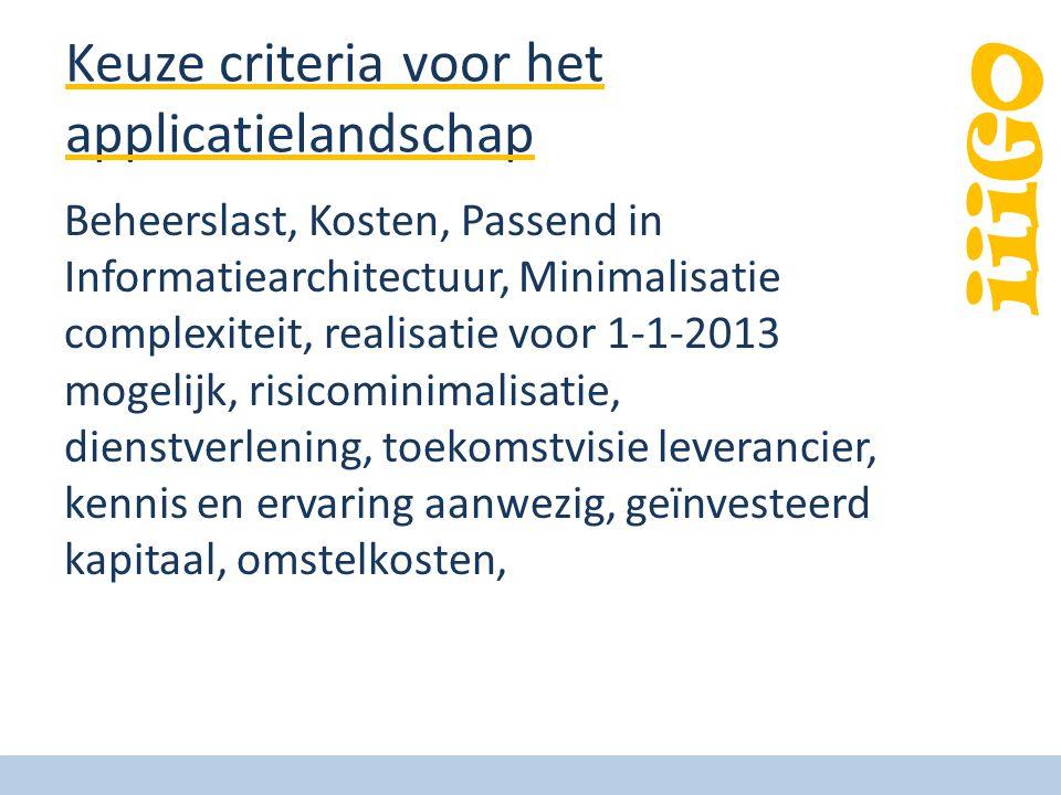 Keuze criteria voor het applicatielandschap