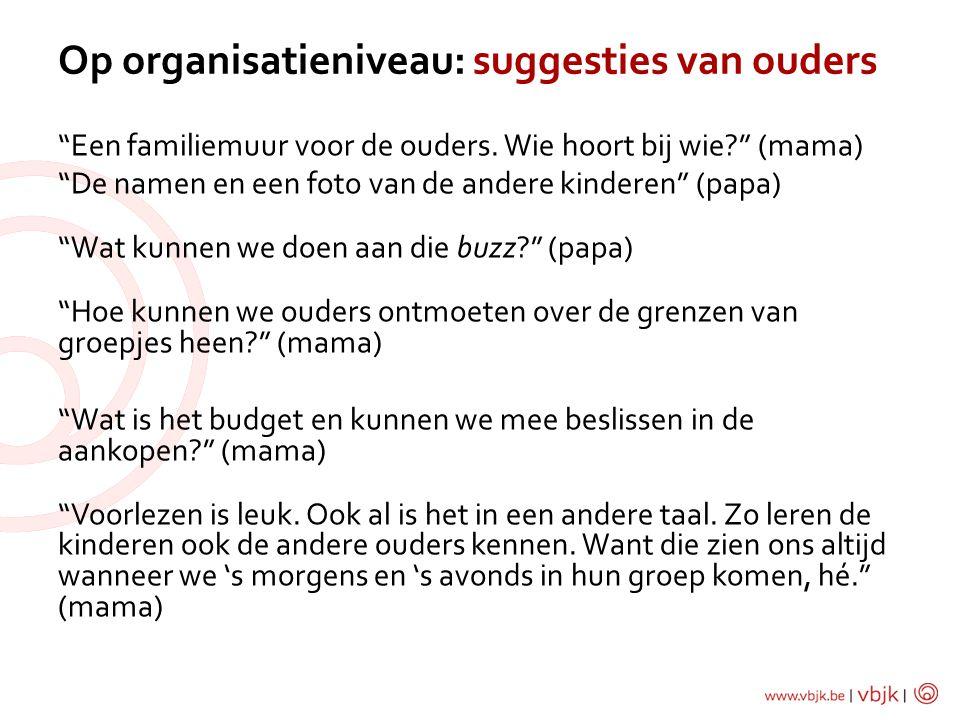Op organisatieniveau: suggesties van ouders