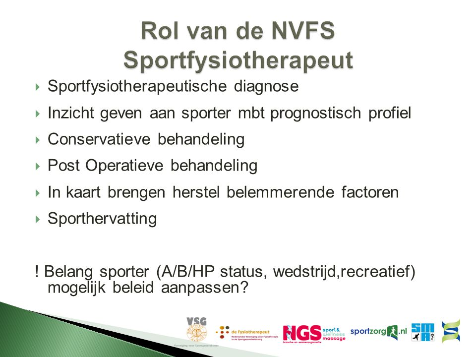 Rol van de NVFS Sportfysiotherapeut
